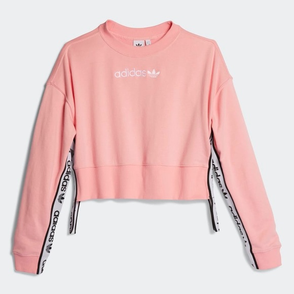 e234b601fcc brand new adidas oversized pink crop tape sweater